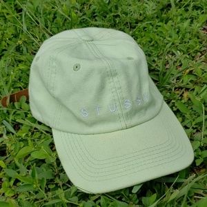 Mens Faded Green Stussy Leather Strap Hat